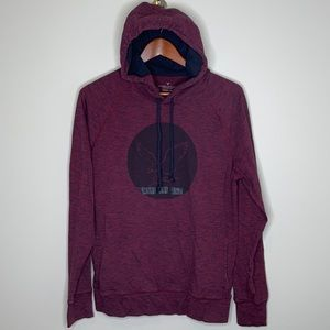AMERICAN EAGLE wine space dye graphic hoodie M